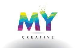 MI vector del diseño de los triángulos de M Y Colorful Letter Origami Foto de archivo libre de regalías