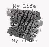 Mi vida mis reglas, ejemplo de la piel del leopardo del lema stock de ilustración