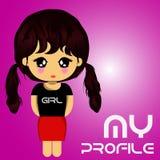 Mi violeta del logotipo de la muchacha del perfil Imagenes de archivo