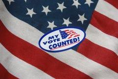 Mi voto contó la etiqueta engomada Imagenes de archivo