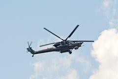Mi28N从Berkuty显示小组的直升机 免版税库存图片