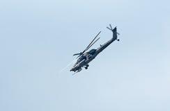 Mi28N从Berkuty显示小组的直升机 免版税图库摄影