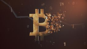 Miażdżący bitcoin cryptocurrency symbole royalty ilustracja