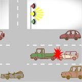 Miażdży samochody na drogach Obrazy Stock