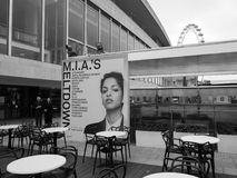 Mia Meltdown festival in London black and white. LONDON, UK - JUNE 08, 2017: Billboard showing MIA's Meltdown festival programme at the Southbank Centre in black Stock Photos