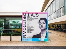 Mia Meltdown festival in London, hdr. London, Uk - June 08, 2017: billboard showing MIA's Meltdown festival programme at the Southbank Centre, high dynamic range Stock Photos