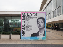Mia Meltdown festival in London. LONDON, UK - JUNE 08, 2017: Billboard showing MIA's Meltdown festival programme at the Southbank Centre Royalty Free Stock Photography