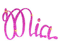 Mia name lettering pink tinsels Stock Photo