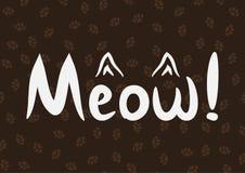 Miado da escrita! e o esboço das orelhas do ` s do gato ilustração stock