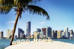 Miami śródmieścia linia horyzontu obrazy royalty free