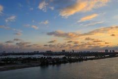 Miami śródmieście od Miami portu Zdjęcie Stock