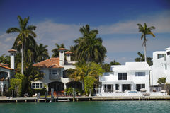Miami. Luxurious Miami waterfront homes with palm trees royalty free stock photo