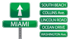 Miami. Florida street signs isolated over a white background Royalty Free Stock Images