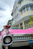 Miami. Old pink car at south beach Stock Image