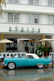 Miami. Old blue car at south beach Stock Photo