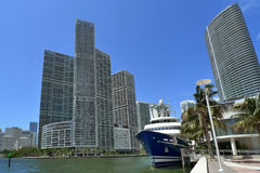 Miami. Downtown building and boat Stock Image