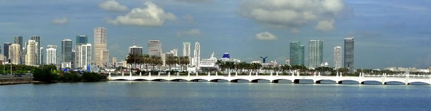 Miami. Downtown building and boat Stock Photo