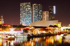 Miami. Miami, Florida at night around Bayside restaurants and bars Stock Photography