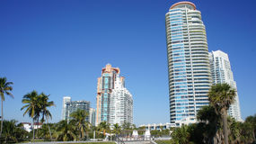Miami. High-rise buildings on the coast of South Beach, Miami Royalty Free Stock Photo