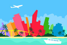 Miami Abstract Skyline City Skyscraper Silhouette Royalty Free Stock Images