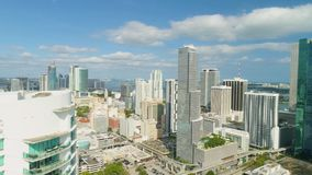 Miami Aerial View Buildings Boats Miami River Brickell and Down Town. Aerial View Port of Miami and Down Town Brickell Showing Cruise Ships buildings Convention stock footage