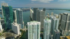 Miami Aerial View Buildings Boats Miami River Brickell and Down Town. Aerial View Port of Miami and Down Town Brickell Showing Cruise Ships buildings Convention stock video footage