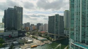 Miami Aerial View Buildings Boats Miami River Brickell and Down Town. Aerial View Port of Miami and Down Town Brickell Showing Cruise Ships stock video footage