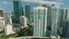 Miami Aerial View Buildings Boats Miami River Brickell and Down Town. Aerial View Port of Miami and Down Town Brickell Showing Cruise Ships stock video