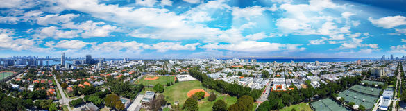 Miami, aerial view of city skyline from a park Royalty Free Stock Image