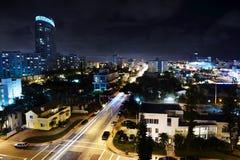 Miami alla notte Fotografie Stock Libere da Diritti