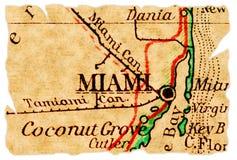 Miami-alte Karte lizenzfreie stockfotos
