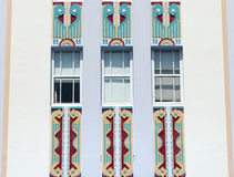 Miami Art Deco. The building exterior in Ocean Drive famous for it`s examples of Art Deco Miami Beach, Florida Royalty Free Stock Images