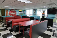 Miami Auto Museum diner red booths stock photo
