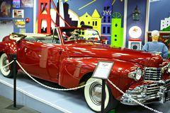 Miami Auto Museum exhibits a collection of vintage and cinema automobiles, bicycles and motorcycles. MIAMI, FLORIDA, USA - APRIL 11: Miami Auto Museum exhibits a Stock Photos