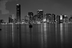 Miami B&W. Miami at night in black and white stock image