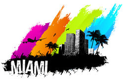 Miami banner. Skyline multi color grunge Miami city Royalty Free Stock Images
