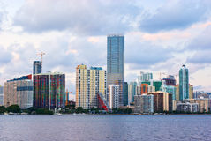 Miami Bayfront. Downtown Miami Bayfront, Business District, Condos and Hotels Royalty Free Stock Image