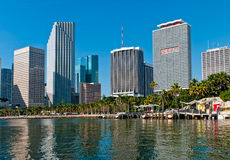 Miami Bayfront Park and downtown. View of Bayfront Park  and downtown Miami from Biscayne Bay Royalty Free Stock Image