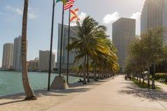Miami bayfront park. MIAMI, FLORIDA - 18 JANUARY 2017: People walking in Bayfront park Stock Photo