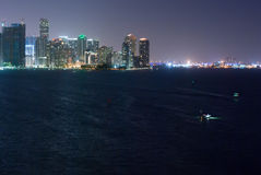 Miami Bayfront Skyline and Port at Night Stock Images