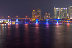 Miami Bayfront Skyline and Port at Night. Downtown Miami Bayfront Skyline at Night, Showing Business, Residential and Entertainment Districts and Illuminated Stock Photos