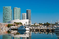 Miami Bayside Marina. View of the Marina in Miami Bayside with modern buildings and skyline in the background Royalty Free Stock Photography