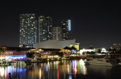 Miami Bayside Marina at night. Florida USA Stock Photos