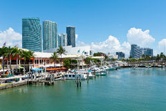Miami Bayside Marketplace. View of the Miami Bayside Marketplace. All logos and brand names removed Stock Images