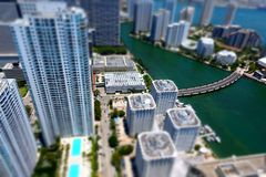 Miami Bayside tilt shift. Tilt Shif Birds eye view of Miami Royalty Free Stock Photography