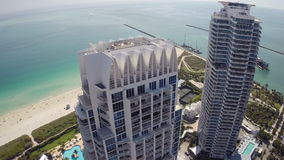 Miami Beach aerial flyover stock video footage