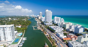 Miami Beach aerial view from helicopter at dusk, Florida - USA Stock Photo