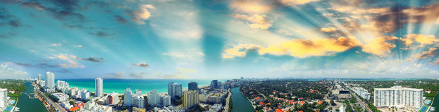 Miami Beach - Aerial view on a sunny day Royalty Free Stock Images