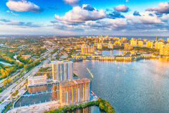 Miami Beach aerial view with water, buildings and major road Stock Images