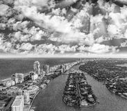 Miami Beach from the air, black and white aerial view Stock Image